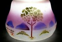 Vintage Light Shade Reverse Painted Glass Antique Lamp Frosted Blue Purple Trees