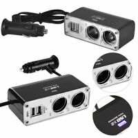 2 Way Power Charger Dual 12v Lighter Socket Adapter Plug Twin Charge USB In Car