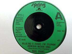 """Paul Evans - Hello This Is Joannie - 7"""" Vinyl Single"""