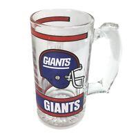 """NFL GIANTS Glass Mug 5 1/2"""" Tall Color RWB Graphics 12 Oz MINT Vintage Condition"""