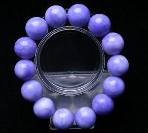 16mm Purple 100% Natural JADE Jadeite Round Gemstone Beads Bangle Bracelet