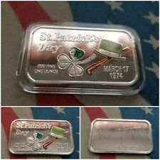 "1 oz .999 Fine Silver Ceeco Bar/Round ""St. Patrick's Day"""