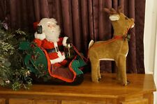 Santa's Best Animated Collection Reindeer pull Santa Sleigh Motionette Christmas