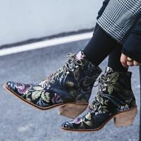 Women  Cuban Chunky Med Heel Pointed Toe Floral Lace Up Ankle Boots EUR 35-43