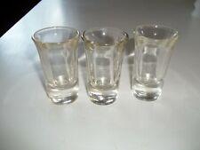 Vintage 3 Shot Glasses Fluted Heavy bottom .