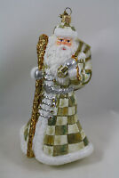 MacKenzie Childs Parchment Check Santa Glass Ornament, MIB