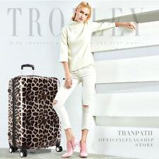 Leopard Hard shell Cabin Suitcase 4 Wheel Luggage Hand Trolley Case