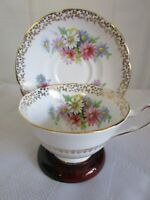 Vintage COLLINGWOODS Cup & Saucer Bone China Colorful Daisies Flowers  England