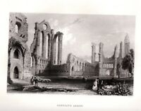 ARBROATH ABBEY Arbroath, Angus Scotland ANTIQUE PRINT 1840 FREEPOST