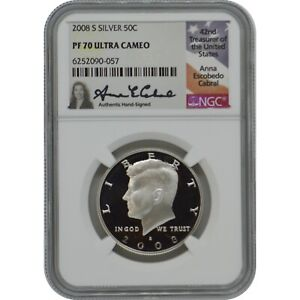 2008-S Proof Silver Kennedy NGC PF70 Ultra Cameo Anna Cabral Signature Label