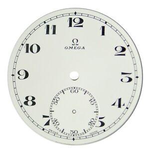Orig. NOS Vintage Omega Porcelain Pocket Watch Dial with Sunken Seconds Track #9
