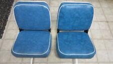 2) Vintage Blue and White Swivel Folding Boat Seats, Bracket Mount