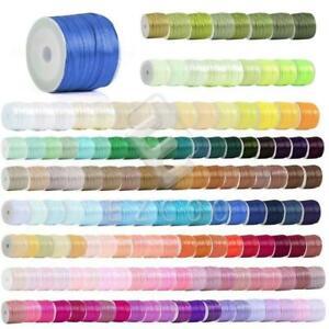 """1/8"""" 3mm 50 Yards Satin Ribbon Sewing Hair Bows Wedding Party Decor Lots RN0001"""
