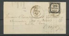 1872 Lettre Taxe carré N°5A 25c noir Obl TROYES AUBE(9) TB. X2605