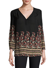 NWT- Joie Riva Floral Printed Silk Tunic Blouse, Caviar - Size Small