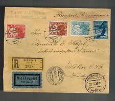 1931 Vienna Austria Registered airmail Cover to Kolin Czechoslovakia