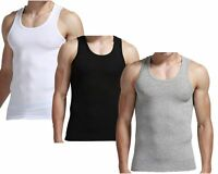 PACK OF 3 MENS SLEEVELESS VESTS FITTED TANK COTTON TOP SUMMER TRAINING GYM TOPS