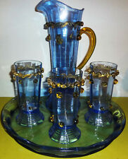 c1920-30 VHTF Antique ITALIAN GLASS TANKARD-TUMBLERS & TRAY w/ATTACHMENTS-MURANO