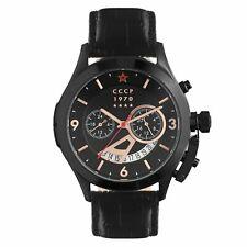 CCCP Men's Shchuka CP-7011-06 43.5mm Black Dial Leather Watch