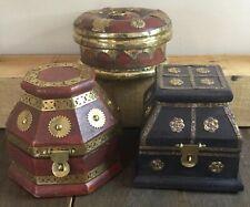 OLD VTG 3 KINGS GIFT GOLD FRANKINCENSE MYRRH BOX CHEST CHRISTMAS SET OF 3