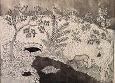 Animaux conte miniature EAU FORTE Art Moderne K.PARVIZ XXème Iran Perse Orient