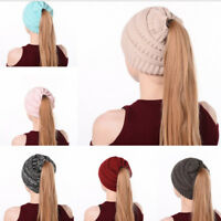 Women Beanie Ponytail Hat Bun Knitted Cap Skull Stretchy Winter Warm Wrap Hats