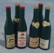 1:12 SCALA sei Bottiglie di Vino Rosso in miniatura casa delle Bambole Accessorio Pub Bar 405