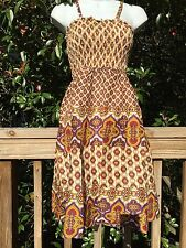 New_Boho Tiered Smocked Cotton Dress_Multicolor Print_Sizes S/M, M/L