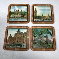 """London Themed Coasters Set Of 4 Cork Bottom Vintage 4"""" Pimpernel"""