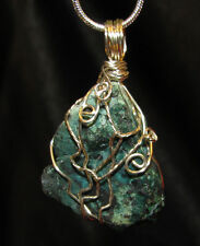 Chrysocholla wire wrap sp snake chain necklace natural stone pendant #402