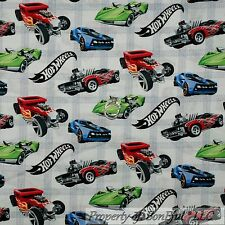 BonEful Fabric Cotton Quilt White Red Blue Hot Wheels Race Car Track Plaid SCRAP