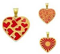14K Solid Yellow Gold Enamel Red Heart Pendant Love Necklace Charm Women