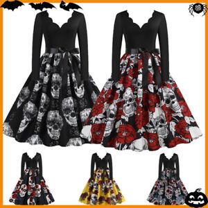 Damen Retro Halloween V-Ausschnitt Party Rockabilly Swing Skater A-Linie Kleid
