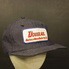 Vintage Patch Trucker Hat Cap Snapback Denim Retro Douglas Battery Manufacturing