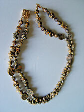 Jasper dotted Vintage Necklace with golden beads and an ornate golden clasp  @