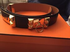 New Hermes Collier De Chien CDC Black And Gold Belt Rare!