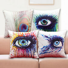 17'' 3D Colourful Geometric Linen Throw Pillow Case Cushion Cover Home Sofa Deco