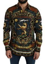 DOLCE & GABBANA Shirt Gold Lion DG STAR Top MARTINI s. 44 / US17.5/2XL RRP $1200