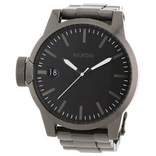 PRE-OWNED $350 NIXON Men's Stainless Steel Analog Black Dial Watch A198-632