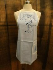 Vtg 1984 New Unworn Precious Moments Collectors Club Blue Cotton Full Bib Apron
