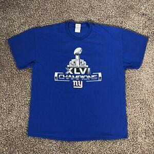 New York Giants T Shirt Super Bowl XLVI Champions Double Sided Faux Team Auto XL
