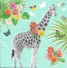 2 Serviettes en papier Girafe Fleurs Decoupage Paper Napkins Giraffe Garden