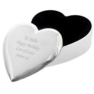 Personalised Heart Trinket Box - Great Birthday Gift - Free Laser Engraving