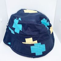 Pink Dolphin 100% Authentic Cross Bucket Hat Size Small Color Navy Yellow & Blue