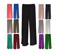 WOMENS PALAZZO PANTS TROUSERS PLAIN LEGGINGS LADIES PLUS SIZE WIDE FLARED 8-26