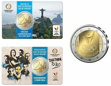 2 Euro Gedenkmünze BELGIEN 2016 : Coincard Olympische Spiele in Rio de Janeiro