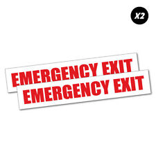 2x Emergency Exit Sticker Decal Safety Sign Car Vinyl