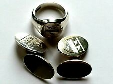 silver hand engraved crest,shield cufflinks and heavy hallmarked crest ring,