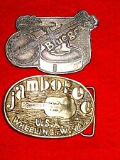 RARE Vintage JAMBOREE U.S.A. WHEELING W. VA Brass Belt Buckle GUITAR Bluegrass