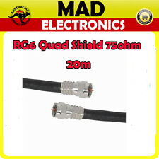 20m High Quality RG6 Quad Shield Cable Lead with Crimped F type Connectors